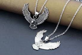 details about mens stainless steel black silver eagle pendant link chain necklace box n52