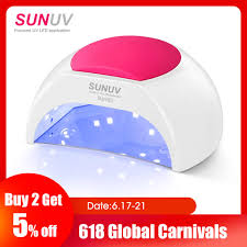 Sunuv Sun2c 48w Nail Lamp Uv Lamp Sun2 Nail Dryer For Uvled Gel Nail Dryer Infrared Sensor With Rose Silicone Pad Salon Use