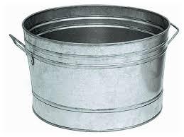 round galvanized steel planter tub at