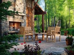 patio design with outside fireplace and patio furniture also outdoor lantern with outdoor stone fireplace kits