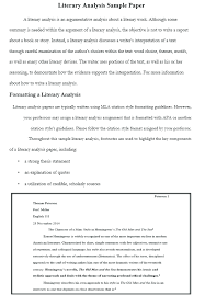 Example In Essays How To Write A Literary Analysis Outline Examples At Kingessays