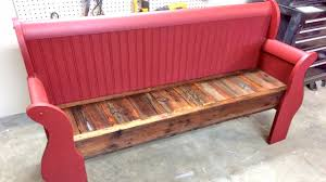furniture, Eye Catching Red Color Paint And Wood Material For Repurposed  Bench On Simple Floor