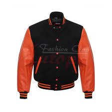 men s real leather wool varsity letterman jacket black w orange leather sleeves