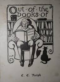 ex libris bookplate man reading poetry with cat by s