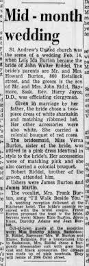 Lois Ida Burton marries John Walter Riddell - Newspapers.com