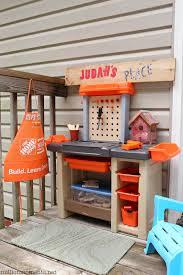 space saving kids work step2 home depot workbench diy play area