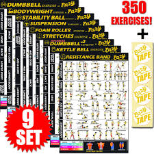 Full Gym Workout Chart Exercise Workout Banner Poster 9 Set Big 28 X 20