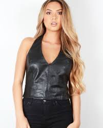 leather halter top pictures