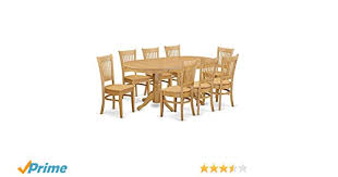 amazon east west furniture vanc9 oak w 9 piece dining room table set kitchen dining