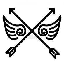 Vektorová Grafika Překřížené šipky S Uměním Tetování Pírko
