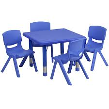 blue school chair. Amazon.com: Flash Furniture 24\u0027\u0027 Square Blue Plastic Height Adjustable Activity Table Set With 4 Chairs: Kitchen \u0026 Dining School Chair