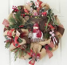 Burlap Country Christmas Wreath, Snowman, Pine Cones, Woodland Cabin |  PataylaFloralDesigns - Housewares