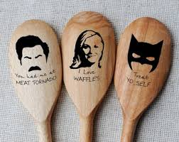 ron swanson spoon parks recreation spoons set of 3 batman spoons funny gift fan tv shows parks and rec pop culture gift gift