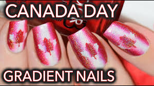 Canada Day Gel Nail Designs Canada Day Nail Art Red White Holo