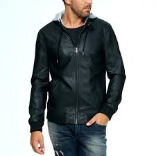 faux leather jacket with hood faux leather jacket with fleece hood