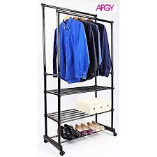 afgy fgr 255 heavy duty double pole garment rack with shelf