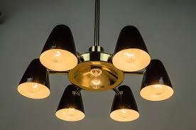 vintage brass black aluminum chandelier 1950s 2