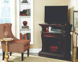 42 corinth burnished walnut entertainment center wall and corner electric fireplace