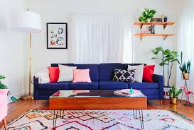 colorful living room furniture. Mid Century Living Room With Blue Sofa Colorful Furniture C