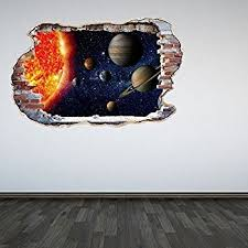 60 second makeover limited full colour solar system smashed wall 3d effect outer space galaxy bedroom on 3d solar system wall art decor with amazon 60 second makeover limited full colour solar system