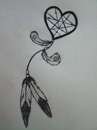 Heart Dream Catcher Tattoo View Drawn Dreamcatcher Heart Middle Pencil Color 100 Tattoo in 59