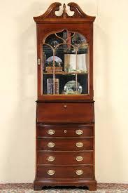 cherry narrow vintage secretary desk bookcase antique oak side by