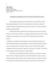 sentence paragraph homework assignment allan meade eng  8 pages easing mexican immigration restrictions arguementive essay allan meade