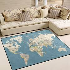 naanle education area rug 5 x7 world map polyester area rug mat