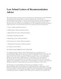 Letter Of Recommendation Law School Sample Employer