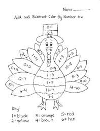 Small Picture Turkey Add Subtract Color By Number Another one to modify to