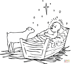 Small Picture Lamb near baby Jesus coloring page Free Printable Coloring Pages