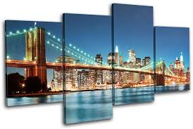 new york city canvas. Simple Canvas New York Skyline Bridge City MULTI CANVAS WALL ART Picture Print VA  EBay On Canvas A