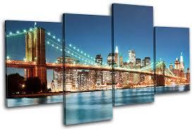 new york skyline bridge city multi canvas wall art picture print va