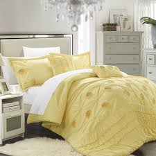 yellow queen bedding.  Yellow Chic Home 5Piece Florentina Floral Pleated Comforter Set Yellow Queen  Bedding Throughout C
