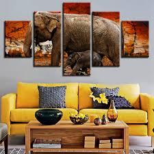 Großhandel Leinwand Poster Modulare Wandkunstwerk 5 Stücke Elefant Tier Baby Landschaft Gemälde Dekoration Wohnzimmer Druck Bilder Von Xu793737893