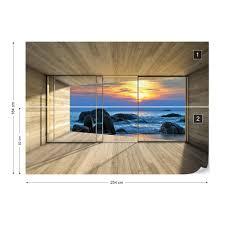 Wallpaper Beach Sunset 3D Modern Window ...