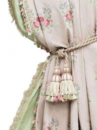 Image result for green embroidered with pink roses curtain