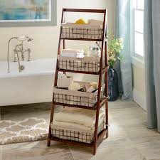 wooden ladder shelf furniture. transform your bathroom into a spalike retreat with our brown storage basket wooden ladder shelf furniture