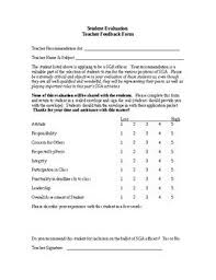teacher feedback form candidate evaluation form teacher feedback teacher and students
