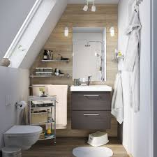 Image Cabinetry Small Brown And White Bathroom With Sloping Ceiling And Brown Sink Cabinet With Drawers Ikea Bathroom Furniture Bathroom Ideas Ikea