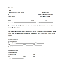 Vehicle Bill Of Sale Template Fillable Pdf | Rezofthestory.com