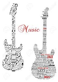 music notes in words classic guitars with words and musical notes and text music for