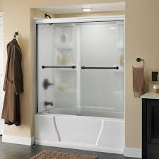 delta phoebe 60 in x 56 1 2 in semi frameless sliding bathtub door in white with transition glass and nickel handle 171838 the home depot