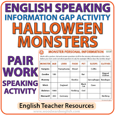 English Speaking Chart English Information Gap Activity Halloween Monsters