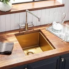 15 Atlas Stainless Steel Undermount Prep Sink Matte Gold Kitchen