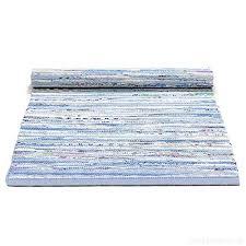 scandinavian washable blue mix woven cotton rag rug floor runner 65cm x 135cm b00taatojy