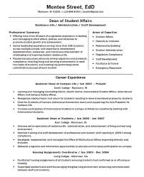 Resume Example For Students University Dean Resume Example Doctor Of Education