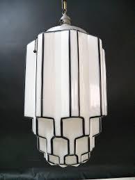 dramatic antique art deco skyser milk glass light chandelier