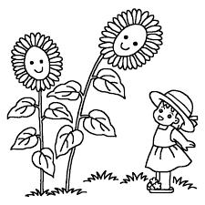 ヒマワリと子ども白黒夏のイラスト無料素材