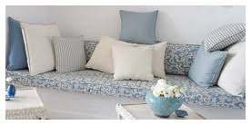 bench cushions indoor. Indoor Bench Seat Cushion With Varying Sized Plain Blue And Cream Scatter Cushions. Cushions
